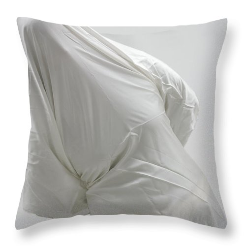 Ghost Throw Pillow featuring the photograph Ghost - Person Covered With White Cloth by Matthias Hauser
