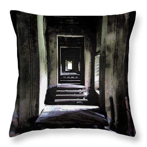 Angkor Wat Throw Pillow featuring the photograph Ghostly Passage by Mark Sellers