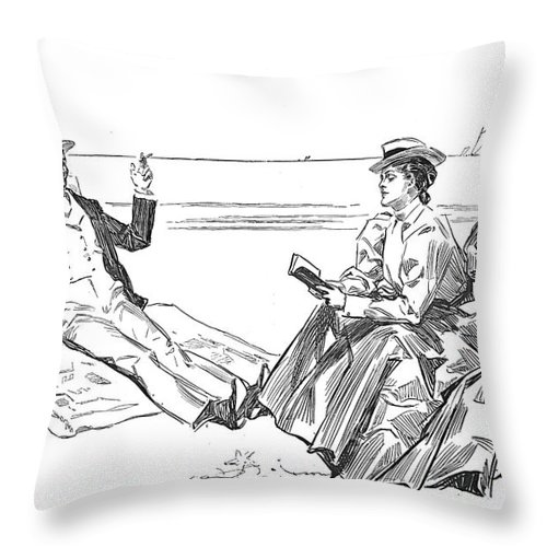 1900 Throw Pillow featuring the photograph Gibson: Beach, 1900 by Granger