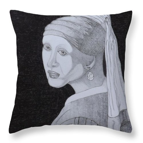Girl With A Pearl Earring Throw Pillow featuring the drawing Girl With A Pearl Earring by Gerald Strine