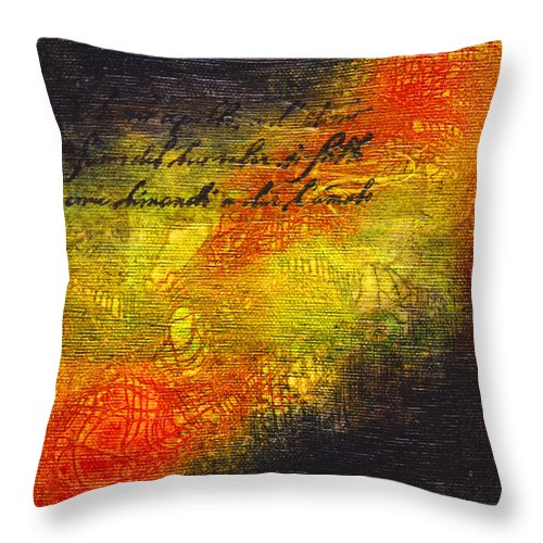 Latin Throw Pillow featuring the mixed media Give Me Strength 1 by Cindy Johnston