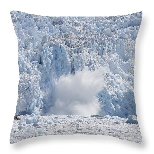 Mp Throw Pillow featuring the photograph Glacial Ice Calving Into The Water by Matthias Breiter