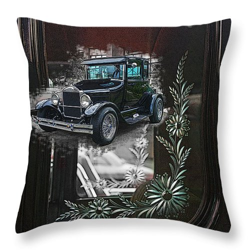 Cars Throw Pillow featuring the photograph Glass Etching Classic by Randy Harris
