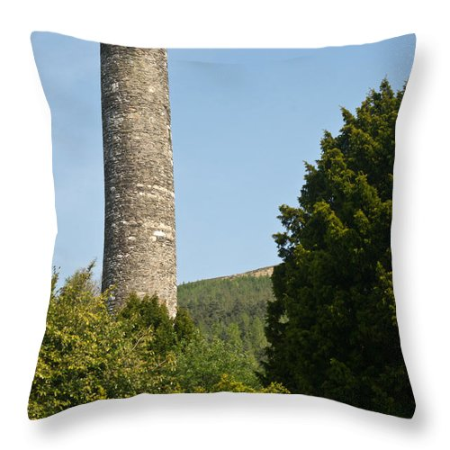 Round Throw Pillow featuring the photograph Glendalaugh Round Tower 10 by Douglas Barnett