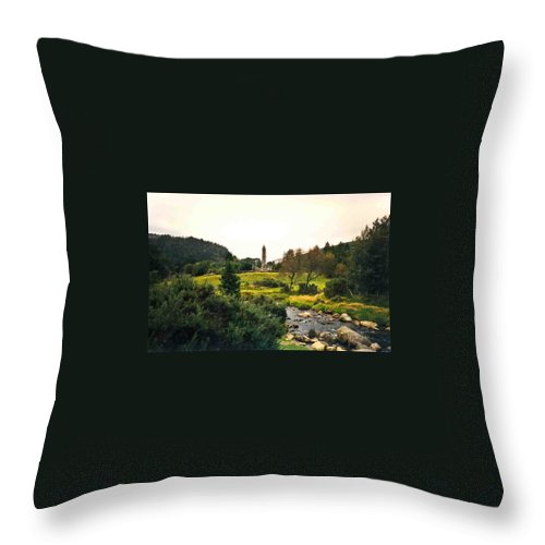 Glendalough Throw Pillow featuring the photograph Glendalough Stream And Tower by Douglas Barnett