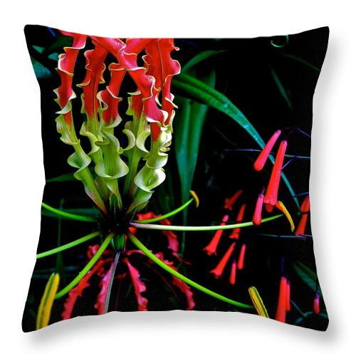 Gloriosa Lily Throw Pillow featuring the photograph Gloriosa Lily by Kirsten Giving