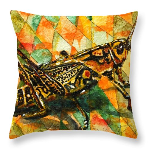 Insect Art Throw Pillow featuring the painting Glorious Grasshopper by Miriam Schulman
