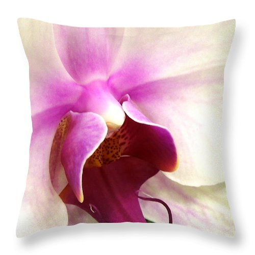 Orchid Throw Pillow featuring the photograph Glorious Orchid by Renee Trenholm