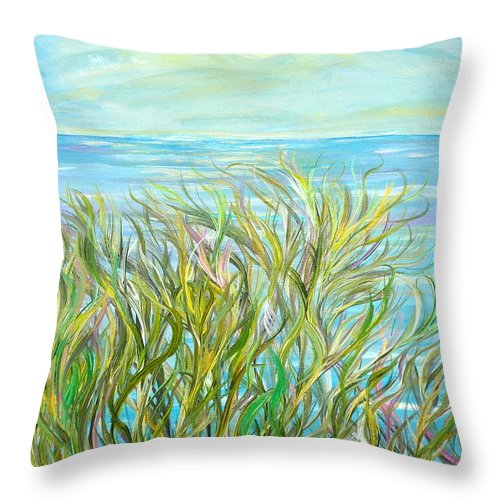 Landscape Throw Pillow featuring the painting Glory Days by Sara Credito