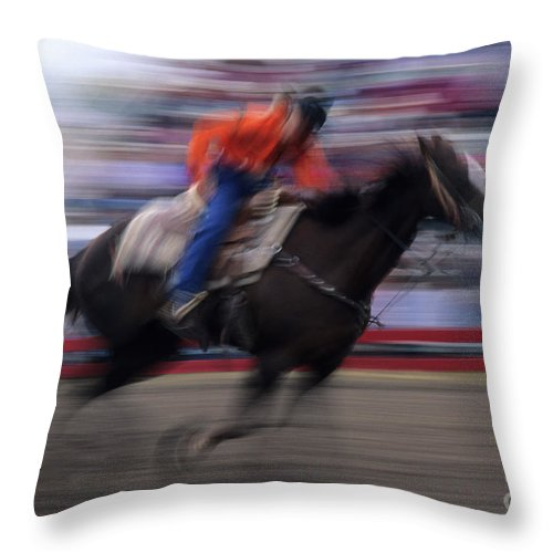 Rodeo Throw Pillow featuring the photograph Rodeo Go For Broke by Bob Christopher