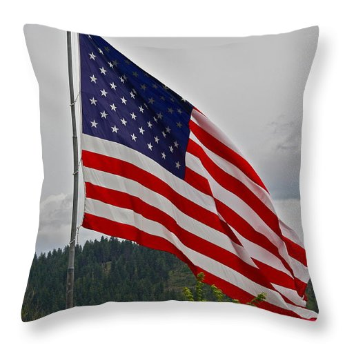 American Flag Throw Pillow featuring the photograph God Bless America by Diana Hatcher