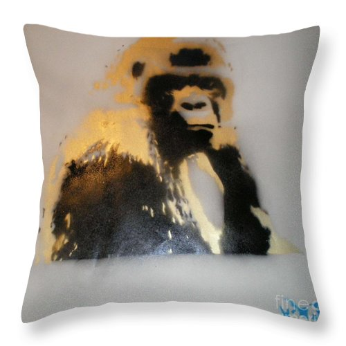 Golden Silver Back Gorilla Throw Pillow featuring the painting Gold Back Gorilla by Barry Boom