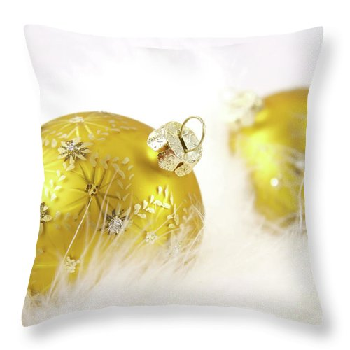 Background Throw Pillow featuring the photograph Gold Balls With Feathers by Sandra Cunningham