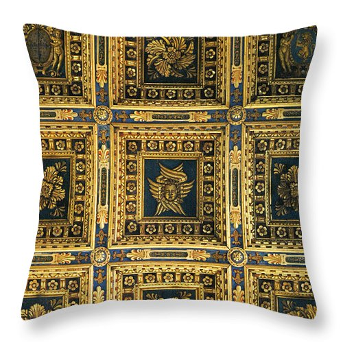 Gold Throw Pillow featuring the photograph Gold Cathedral Ceiling Italy by Mike Nellums