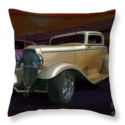 Cars Throw Pillow featuring the photograph Gold Hot Rod by Randy Harris