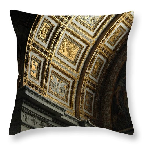 Gold Throw Pillow featuring the photograph Gold Inlay Arches St. Peter's Basillica by Mike Nellums