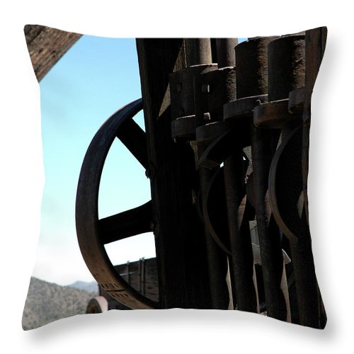 Usa Throw Pillow featuring the photograph Gold Mining Stone Crusher by LeeAnn McLaneGoetz McLaneGoetzStudioLLCcom