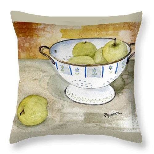 Yellow Apples Throw Pillow featuring the painting Golden Apples by Nancy Patterson