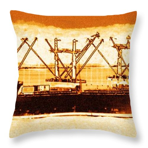 Ship Throw Pillow featuring the digital art Golden Defenders by Rrrose Pix