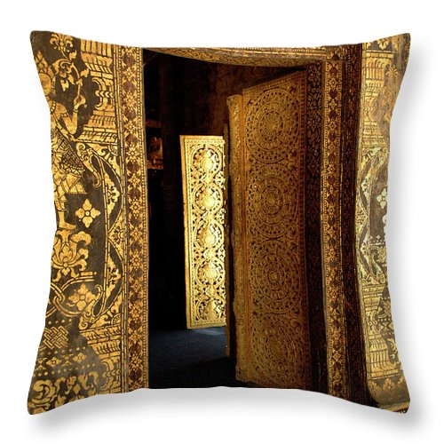 Golden Doorway Throw Pillow featuring the photograph Golden Doorway 2 by Bob Christopher