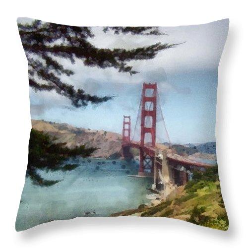 Golden Gate Throw Pillow featuring the photograph Golden Gate Bridge by Paulette B Wright