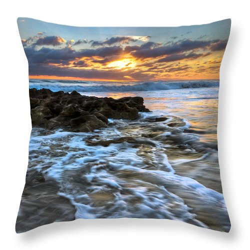 Blowing Rocks Throw Pillow featuring the photograph Golden Glow by Debra and Dave Vanderlaan