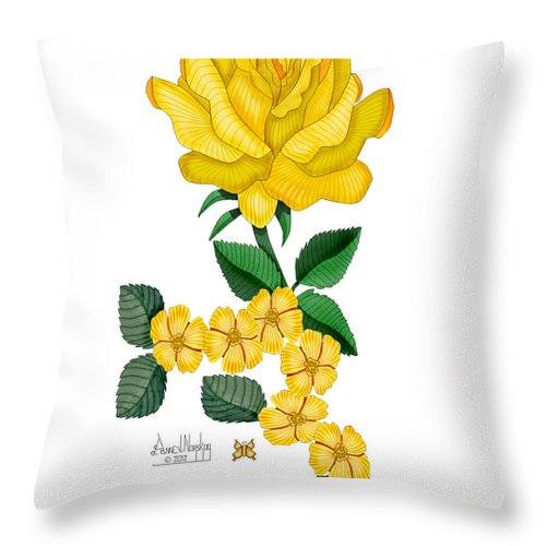 Yellow Rose Throw Pillow featuring the painting Golden January Rose by Anne Norskog