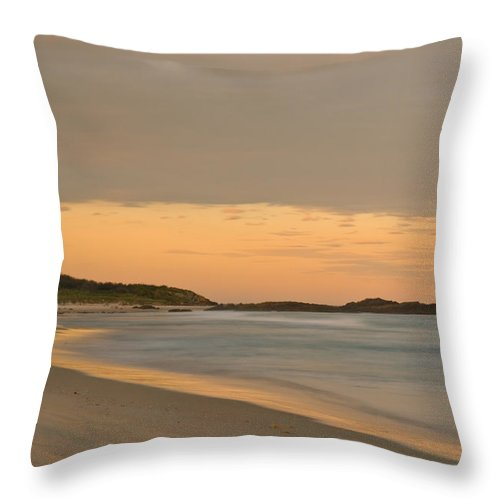 Background Throw Pillow featuring the photograph Golden Light After A Sunset At A Beach by U Schade