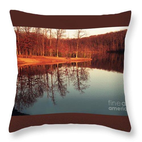 Sunset Evening Reflection Lake Mirror Trees Park Water Golden Throw Pillow featuring the photograph Golden Light by Vilas Malankar