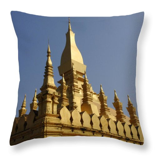Vientienne Throw Pillow featuring the photograph Golden Palace Laos 2 by Bob Christopher