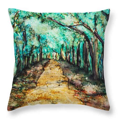 Abstract Throw Pillow featuring the painting Golden Path by Tara Thelen