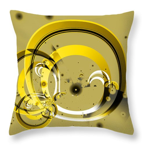Fractal Throw Pillow featuring the digital art Golden Rings by Frederic Durville