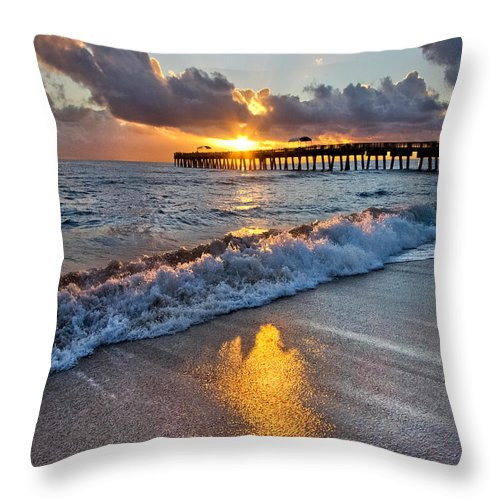 Clouds Throw Pillow featuring the photograph Golden Shadows by Debra and Dave Vanderlaan