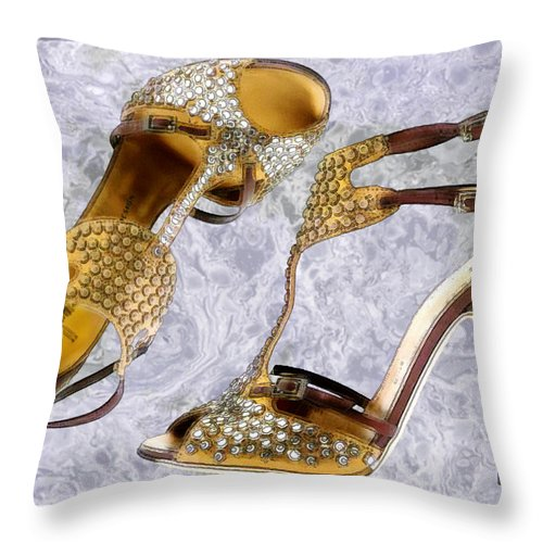 Shoes Heels Pumps Fashion Designer Feet Foot Shoe Throw Pillow featuring the painting Golden Studded Stilettos by Elaine Plesser