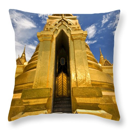 Golden Stupa Throw Pillow featuring the photograph Golden Stupa Front View Bangkok by Charuhas Images