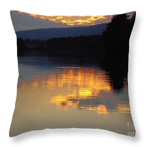 Gold Sunset Reflection Mountain Lake Water Clouds Lighting Throw Pillow featuring the photograph Golden Sunset by Vilas Malankar