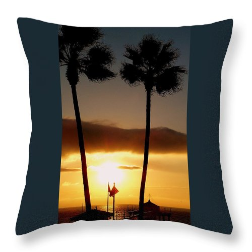 Sunset Throw Pillow featuring the photograph Golden Twin Palms Sunset by Jeff Lowe