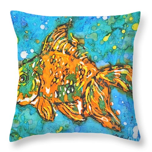 Painting Throw Pillow featuring the painting Goldfish by Norma Gafford