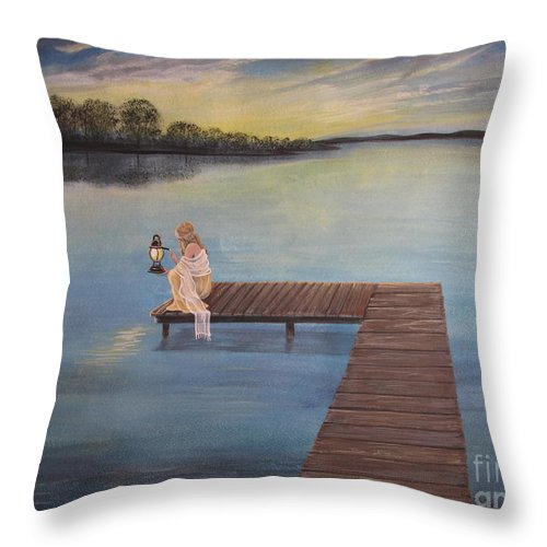 Summer Vacation Throw Pillow featuring the painting Good Morning World by Kris Crollard