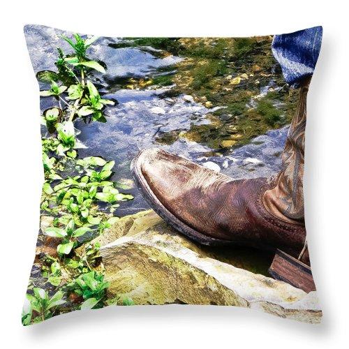 Cowboy Boots Throw Pillow featuring the photograph Got My Cowboy On by Tisha Clinkenbeard