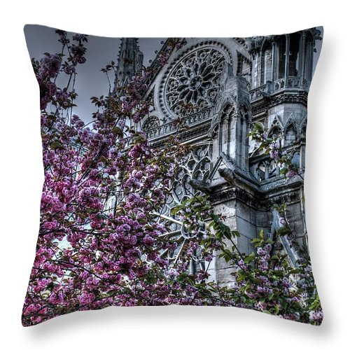 Notre Dame Throw Pillow featuring the photograph Gothic Paris by Jennifer Ancker