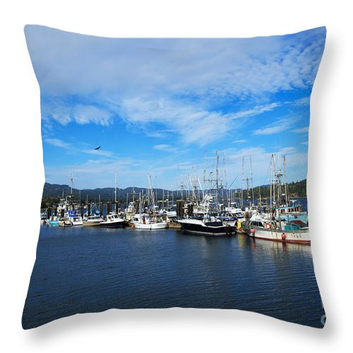 Boats Throw Pillow featuring the photograph Government Wharf In Sooke Harbour by Louise Heusinkveld