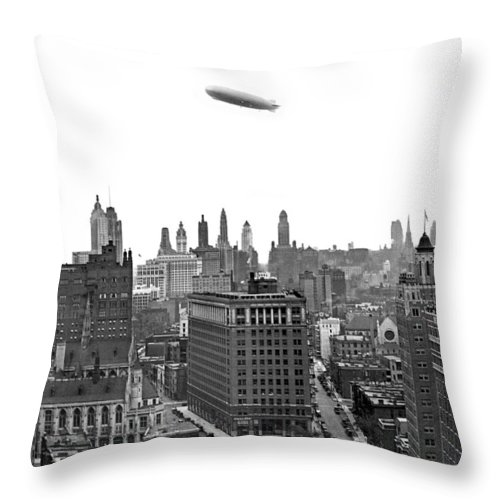 1920's Throw Pillow featuring the photograph Graf Zeppelin Over Chicago by Underwood Archives
