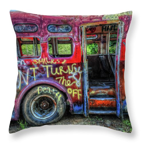 Graffiti Throw Pillow featuring the photograph Graffiti Bus by Dave Mills