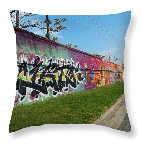 Graffiti Throw Pillow featuring the photograph Graffiti Lane by Anne Cameron Cutri