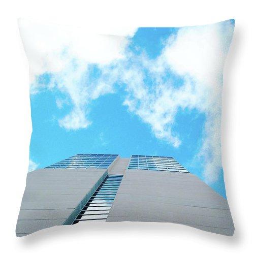 Sky Throw Pillow featuring the digital art Grand Hyatt San Antonio by Lizi Beard-Ward