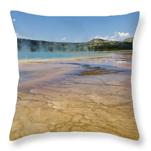 Yellowstone National Park Throw Pillow featuring the photograph Grand Prismatic Spring II by Jon Berghoff