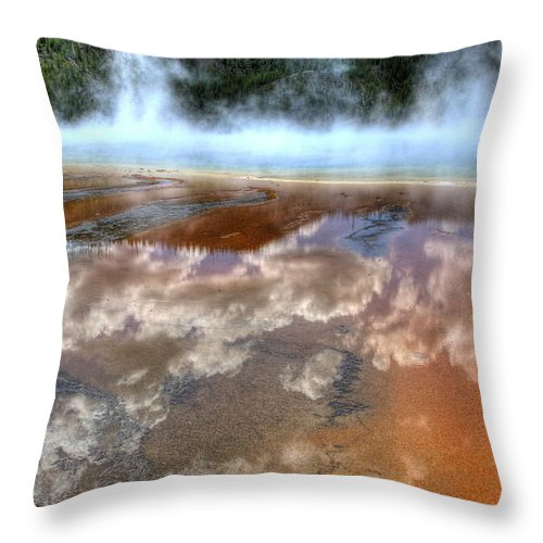 Yellowstone National Park Throw Pillow featuring the photograph Grand Prismatic Spring Iv by Jon Berghoff