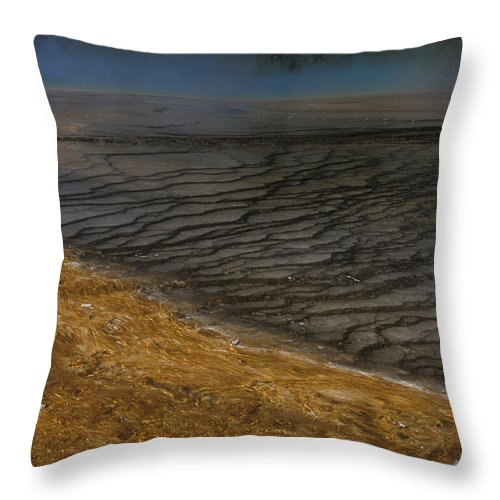 Yellowstone Throw Pillow featuring the photograph Grand Prismatic Spring Runoff by Sandra Bronstein