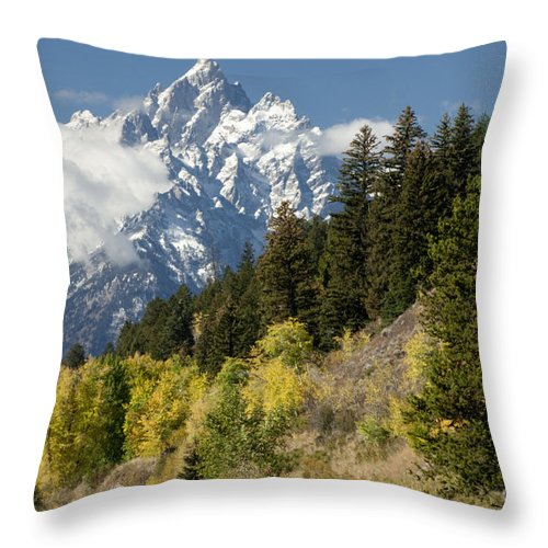 Sandra Bronstein Throw Pillow featuring the photograph Grand Teton by Sandra Bronstein